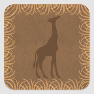 Safari Theme Giraffe Silhouette Square Sticker