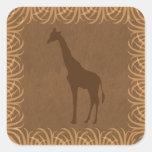 Safari Theme Giraffe Silhouette Square Sticker