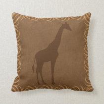 Safari Theme Giraffe Silhouette Throw Pillow