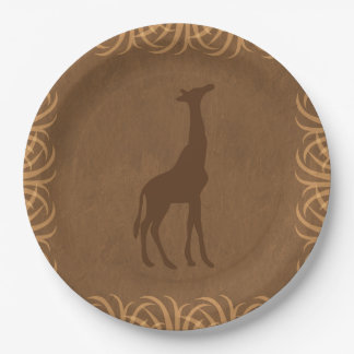 Safari Theme Girffe with Tall Grass Border Paper Plate