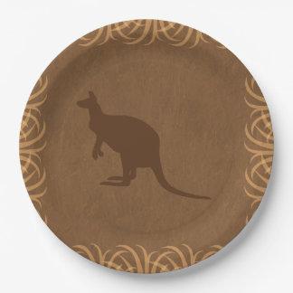 Safari Theme Kangaroo with Tall Grass Border Paper Plate