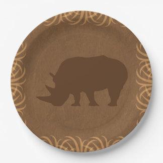 Safari Theme Rhino with Tall Grass Border Paper Plate
