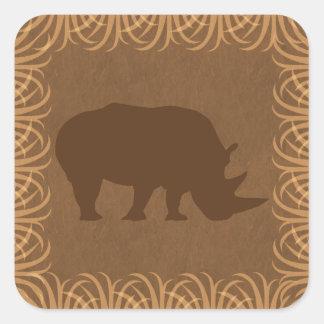 Safari Theme Rhinoceros Silhouette Square Sticker