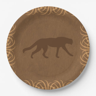 Safari Theme Wild Cat with Tall Grass Border Paper Plate