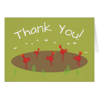Safari themed red bird jungle zoo thank you card