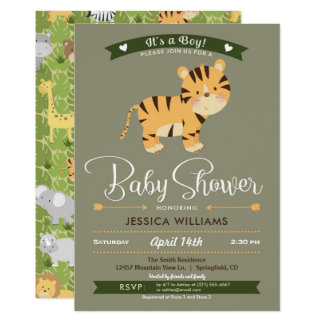 Safari Tiger Baby Shower Boy Invitation