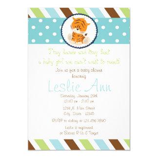 Safari Tiger Blues Baby Shower Invitation