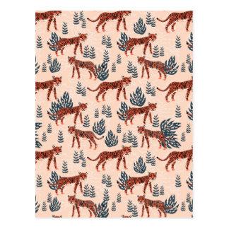 Safari Tiger Blush Coral Girls / Andrea Lauren Postcard