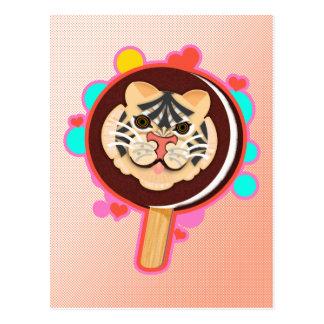 Safari Tiger Ice Cream Sundae On A Stick - Postcard