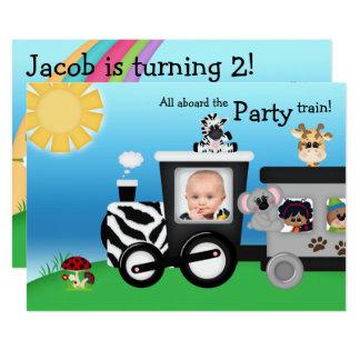 Safari Train Animal Birthday Invite Photo Card