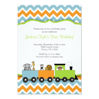 Safari Train Birthday party invites / zoo animals