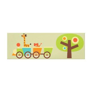 Safari Train Canvas Kids Wall Decor Baby Nursery