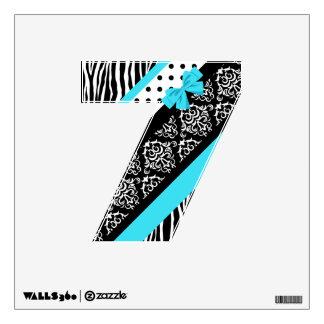 Safari: Turquoise/Bow: 7 Wall Decal