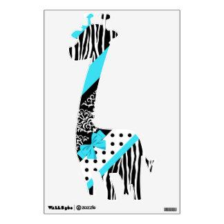 Safari: Turquoise/Bow Giraffe Wall Sticker