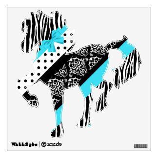 Safari: Turquoise/Bow Horse Wall Sticker