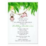 Safari Twin Monkeys Baby Shower Invitation