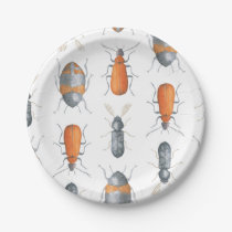 Safari Watercolor Bugs Pattern Paper Plate