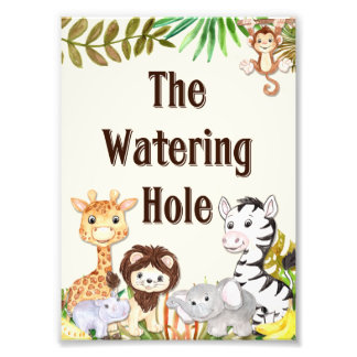 Safari Watering Hole Sign, Baby Shower Sign, Baby Photo Print