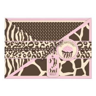 Safari y cumpleaños rosados RSVP de Cucpake segund Invitacion Personalizada