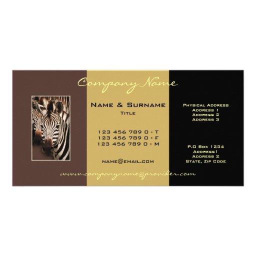Safari zebra photo business cards photo card template