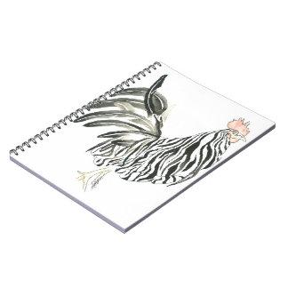 Safari Zebra Rooster Spiral Notebook