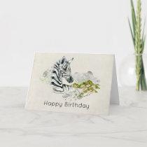 Safari Zebra Wild Exotic Animal Happy Birthday Card