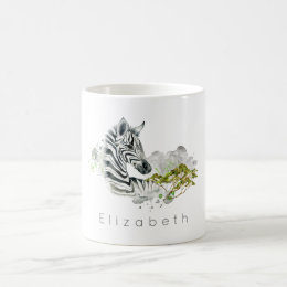Safari Zebra Wild Exotic Animal In Watercolors Coffee Mug