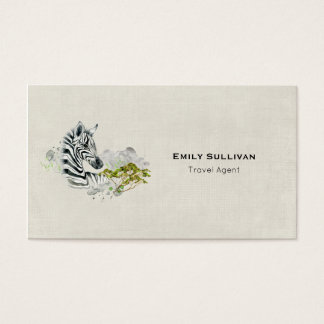 Safari Zebra With Green Savannah Tree Watercolor Business Card
