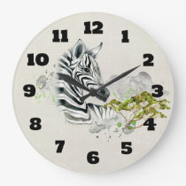 Safari Zebra With Green Savannah Trees Watercolor Large Clock