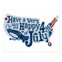 Safe And Happy 4th Of July Postcard