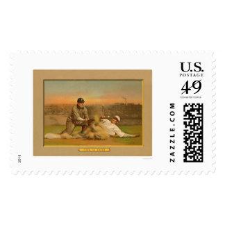 Safe At Third Baseball Card 1911 Postage Stamp