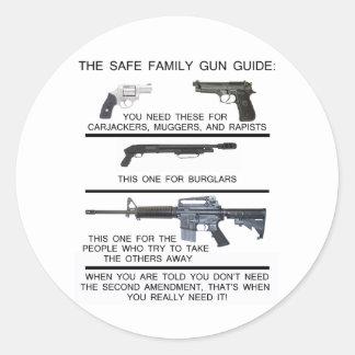 SAFE FAMILY GUN GUIDE CLASSIC ROUND STICKER