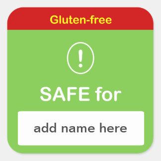 SAFE FOOD LABEL w/ Custom Name ~ GLUTEN-FREE. Square Sticker