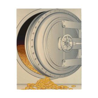 Safe & Gold Coins Wood Wall Art