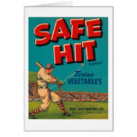 Safe Hit Vintage Crate Label - Baseball Greeting Card