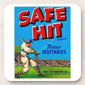 Safe Hit Vintage Lable Art Beverage Coaster