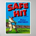 Safe Hit Vintage Lable Art Poster