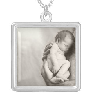 Safe In Daddy's Arms Square Pendant Necklace