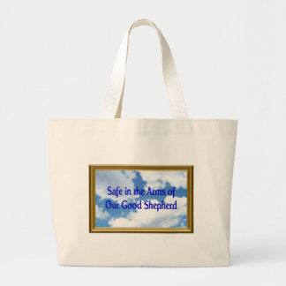 Safe in the Arms of Our Good Shepherd Large Tote Bag