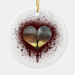 Safe the nature bleeding heart tree of life ceramic ornament