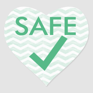 Safe to Eat Green Chevron Heart for Allergies Heart Sticker