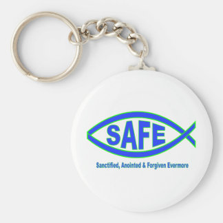Safe with Christ Keychains