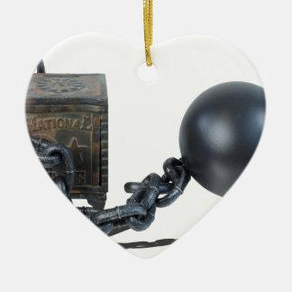SafeBoundByBallAndChain061315 Adorno Navideño De Cerámica En Forma De Corazón