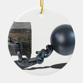 SafeBoundByBallAndChain061315 Ceramic Ornament