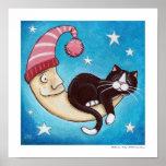 Safest Place for a Cat Nap (w.border) Art Print