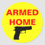 Safety Armed Home Classic Round Sticker