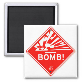 Safety Bomb Warning Red Sign Bombing Caution 2 Inch Square Magnet