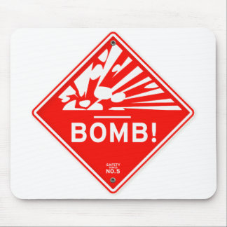 Safety Bomb Warning Red Sign Bombing Caution Mouse Pad