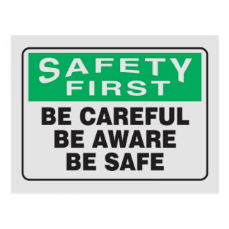 Safety First, Be Aware Postcard