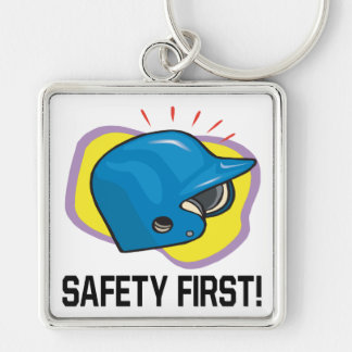 Safety First Silver-Colored Square Keychain